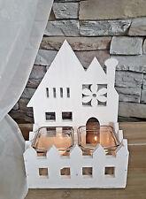 ❀ Haus Windlicht Weiß Holz + 2 Teelichtgläser 26cm Teelichthalter Kerzen #119B