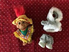 """Vintage 4"""" Russ troll doll colorful Mexican poncho hat eskimo parka red hair"""