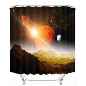 Solar System And Loess 3D Shower Curtain Polyester Bathroom Decor  Waterproof