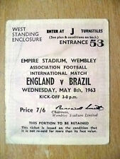 Tickets- 1963 International Match ENGLAND v BRAZIL, 8 May 1963- Wembley