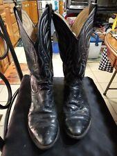 JUSTIN Basics BOOTS Full-Quill Ostrich Sz 9.5 D Mens Black Cowboy Boots Preowned