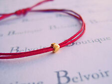 tiny gold heart red wax cotton cord string adjustable friendship bracelet gift