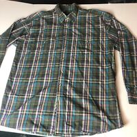 Roper Mens Green Long Sleeve Plaid Button Front Shirt Size Xl A11