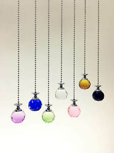 Light Pull Chain Cord Round Crystal Chrome Bathroom Choose 100 or 200cm Chain