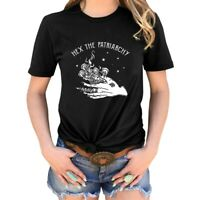 Hex The Patriarchy Print T-Shirt Womens Halloween Witch Casual Tops Graphic#rft