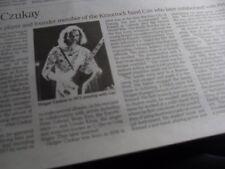 HOLGER CZUKAY. KRAUTROCK band CAN. UK Times Obituary,15.9.17  &  J P DONLEAVY