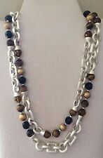 SILVER CHAIN, TIGER'S EYE & FACETED CRYSTAL NECKLACE