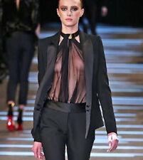 ALEXANDRE VAUTHIER $2,615 black wool crepe silk satin lapel blazer jacket 40 NEW