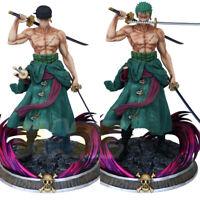 Anime One Piece Santōryū Two-Headed Roronoa Zoro Figure Statue Toy 37cm