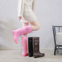 Womens Waterproof Rain Boots Mid-calf Shoes Motorcycle Galoshes Non-slip Wellies