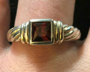 Sterling Silver Ring Garnet Red 5mm Square Cable Signed D? Sz 10 4.7g 925 #1143