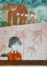 Leticia Tarrago Pensando en botanica Etching Aquatint Hand Signed Mexican Artist