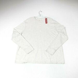 Merona Mens XXL Long Sleeve Henley Shirt Light Heather Gray