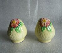 🌹VINTAGE CARLTON WARE WILD ROSE Yellow Color Way Salt & Pepper Shakers!🌹