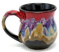 Coffee Mug Cup Studio Art Pottery Ceramic Red Brown Drip Glaze over Black 12 oz