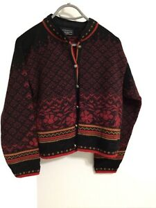Dale of Norway Womens Wool Cardigan Small Red Black Knit Design Metal Buttons