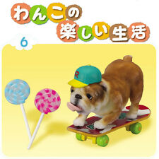 Rare! Re-ment Miniature Happy Dog's Fun Life No.6 Bulldog Playing Skateboarding