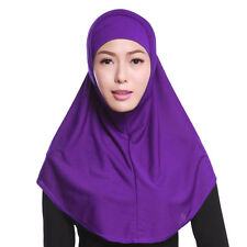 Islamische Damen Länge Hijab Kopftuch Solide Farbe Kappe+Schal 2pcs Satz Neu