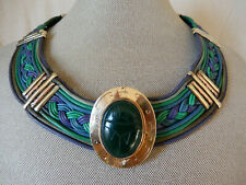 "OOAK VINTAGE EGYPTIAN LEATHER COLLAR NECKLACE / GOLD FILLED ""JADE"" SCARAB"