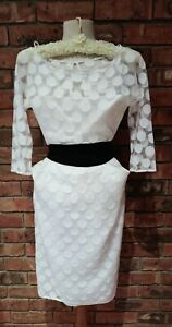Original Vintage 1980s Carla Zampatti White Polka Dot Sheer Dress