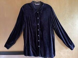 Lovely Cut Loose Navy Blue Velvet Pearl Button Long Sleeve Blouse Size L