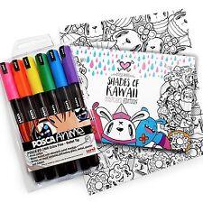 "Miss Wah ""tonos de Kawaii"" Libro Postal con marcadores de cartera de 6 Posca PC-1MR"