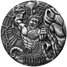 Tuvalu 2016 Norse Gods #2 Thor God of Thunder $2 2 Oz Antiqued Silver COA #1088!