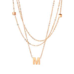 Edelstahl Damen Halskette mit Buchstabe M mehrreihige kette Farbe roségold