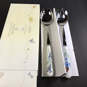 """Lenox Butterfly Meadow 2 Piece Serving Set Fork and Spoon 11.5"""""""