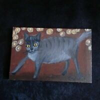 Cat Original Miniature 6 in x 4 in acrylic painting on canvas by Gulchik NY