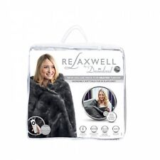 NEW Dreamland Relaxwell Deluxe Faux Fur Heated Throw Electric Blanket Large Grey