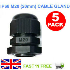 5x M20 20mm Black Compression Cable Gland Nylon Lock Nut Electric Wire Junction