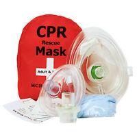 Adult/Child + Infant CPR Pocket Resuscitator Rescue Masks w 2 Valves, MCR Medic