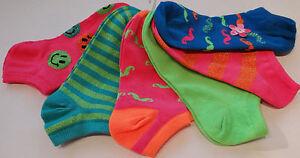 Girls New Set of 6 No Show Socks-Sock Size: 9-11--Shoe Size: 4-10.5--6-10.5