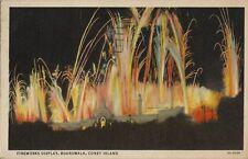 1937 Postcard - Firewoks Display - Boardwalk - Coney Island NY