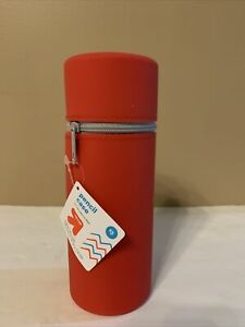 """Up&Up Stand-Up Pencil Case - Red - Silicone with Zipper 8""""x3""""x3"""""""