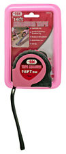 Pink 16' Feet SAE Metric Soft Grip Locking Stop Non Slip Measuring Tape Measure
