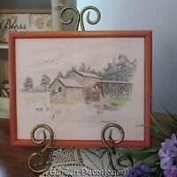 Original Drawing Old Mill and Mallard Ducks Swimming Pond George H. Lahman 1988