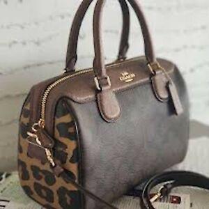 Coach Signature Leopard Mix Mini Satchel Handbag Brown Bennett Handbag Bag NEW