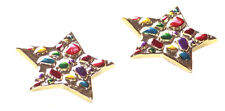 Flamboyant, & Vibrant Multicolour Gem &  Gold Star Clip-On Earrings.(Zx86)