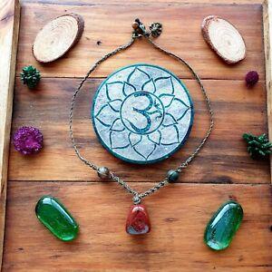 The 'Red Jungle' Necklace Jasper Crystal Choker Hemp by GypsyLee Jewels
