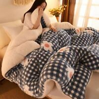 Patchwork Thick Quilts Duvet Luxury Printed Flannel Blanket Bedding Comforter