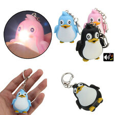 Cute Animal Penguin LED Light Sound Key Chain Pendant Keyring Ring Torch Gift