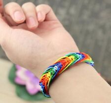 Unisex Gay Pride Rainbow Stripe Friendship Bracelet Brand New