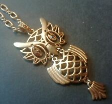 Vintage AVON Matte Gold Owl Pendant on Long Chain - Crystal Eyes