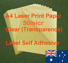 16 X A4 Clear 50micr Label Adhesive Sticker Laser Print paper( transparence )