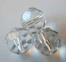 30pcs 12mm Faceted Round Crystal Beads - Clear