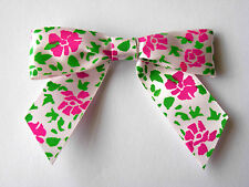 10 LARGE WHITE/PINK/GREEN TIE BOWS 80MM WIDE APPROX. MADE WITH 22MM RIBBON