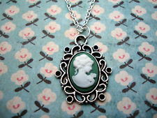 FUNKY GREEN CAMEO NECKLACE CUTE KITSCH VINTAGE STYLE RETRO VICTORIAN LADY GIFT