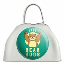 Free Bear Hugs Funny Humor White Metal Cowbell Cow Bell Instrument